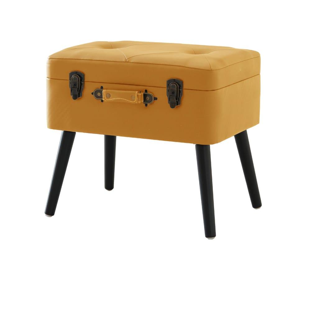ICHIBA 多功能造型收納皮革椅凳-駝色